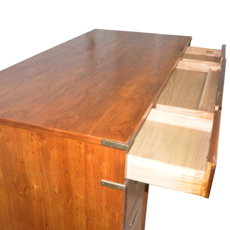 Oak Campaign Style Desk by National Mt. Airy For Sale