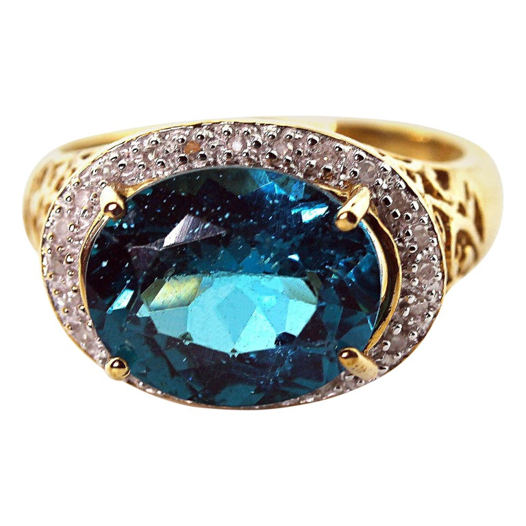 Gemjunky Madagascar Natural 5.2 Carat Apatite and Diamond 10Kt Yellow Gold Ring For Sale