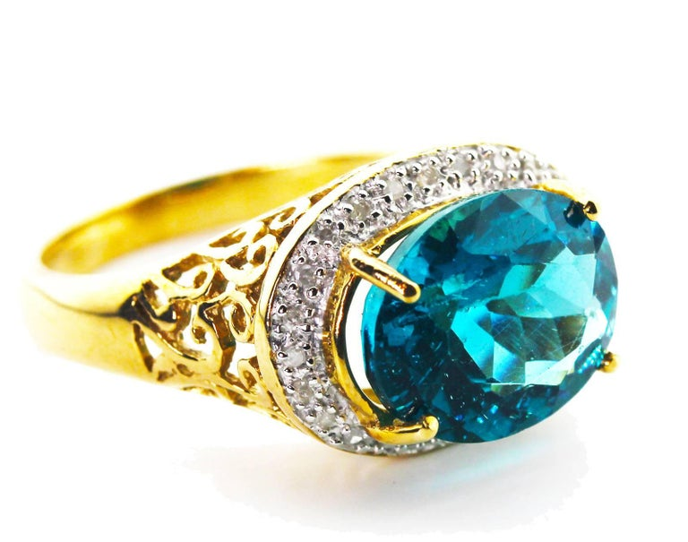 Women's or Men's Gemjunky Madagascar Natural 5.2 Carat Apatite and Diamond 10Kt Yellow Gold Ring For Sale