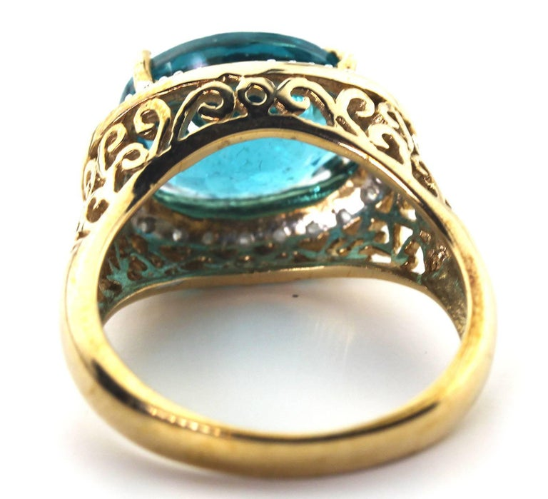 Gemjunky Madagascar Natural 5.2 Carat Apatite and Diamond 10Kt Yellow Gold Ring For Sale 1
