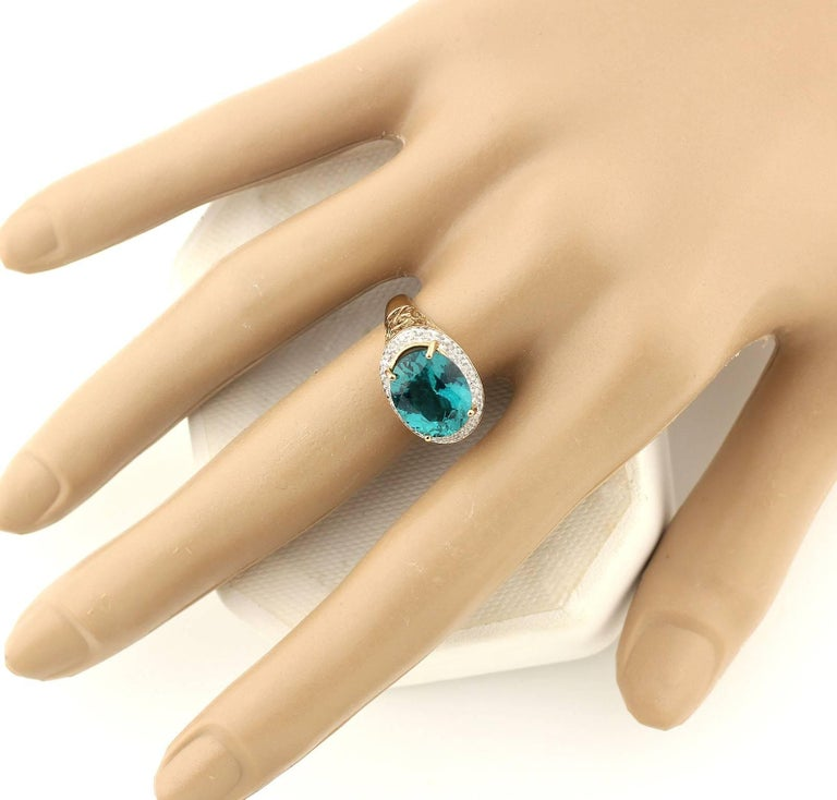 Gemjunky Madagascar Natural 5.2 Carat Apatite and Diamond 10Kt Yellow Gold Ring For Sale 2