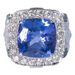 5.2 Carat Cushion Cut Tanzanite, Pariba, Diamond Cocktail Ring in18k  White Gold