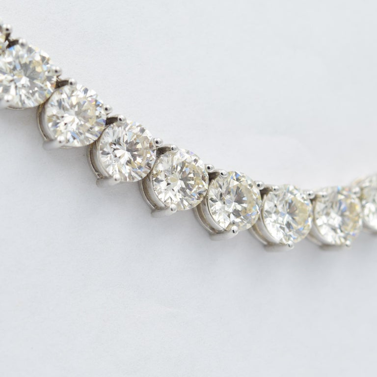 Round Cut 52 Carat Diamond Riviera Necklace in 18k White Gold I-J VS For Sale