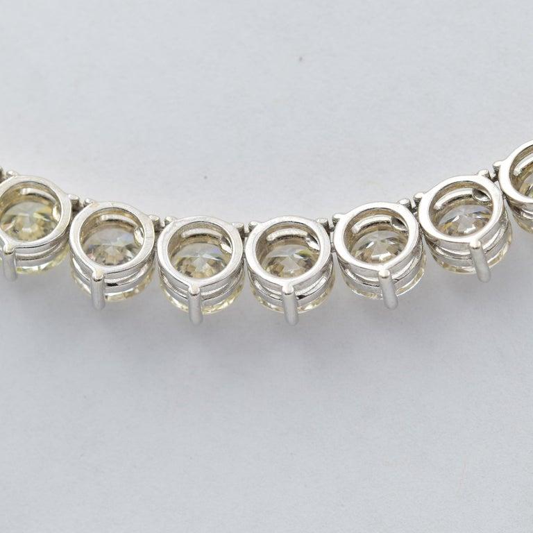 Women's 52 Carat Diamond Riviera Necklace in 18k White Gold I-J VS For Sale