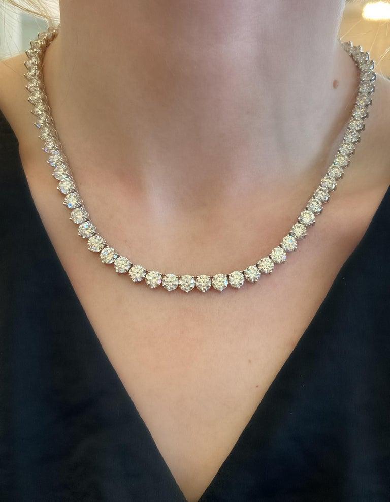 52 Carat Diamond Riviera Necklace in 18k White Gold I-J VS For Sale 3