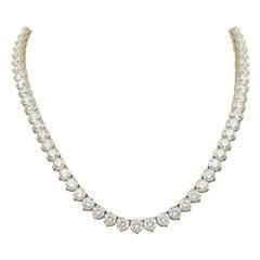 52 Carat Diamond Riviera Necklace in 18k White Gold I-J VS
