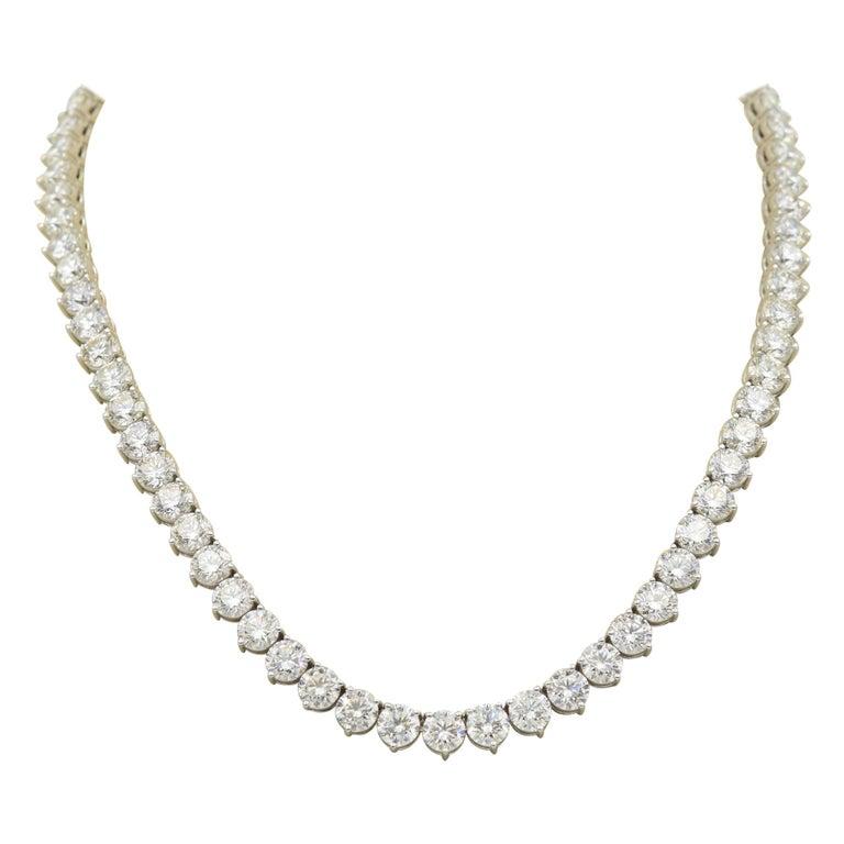 52 Carat Diamond Riviera Necklace in 18k White Gold I-J VS For Sale