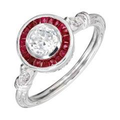 .52 Carat Diamond Ruby Halo Platinum Engagement Ring