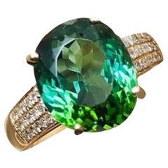 5.2 Carat Green Tourmaline Diamond Ring 18 Karat Yellow Gold
