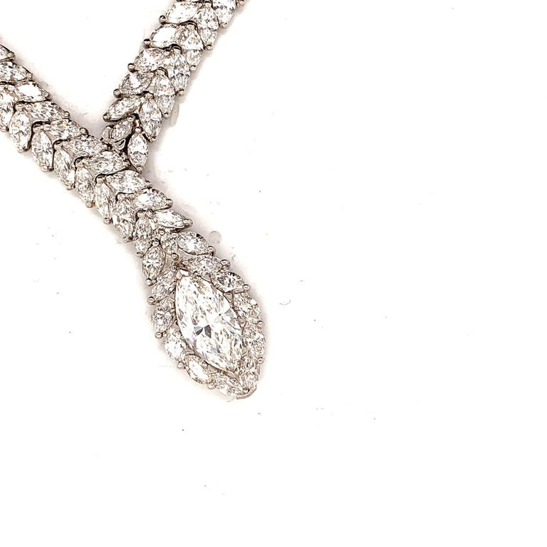 """Magnificent snake motif necklace from ISSAC NUSSBAUM NEW YORK. 54 carats D-E-F color vs2+ clarity of perfectly cut marquise cut diamonds set in 18k gold make up this incredible necklace. The """"head of the snake"""" is a dazzling 4.52 carat E color VS2"""