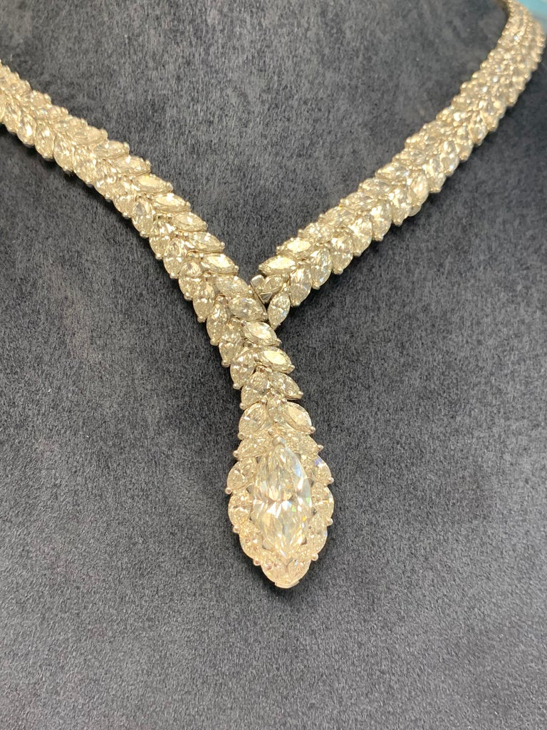 52 Carat Marquise Cut Diamond Snake Necklace For Sale 2