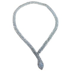 52 Carat Marquise Cut Diamond Snake Necklace