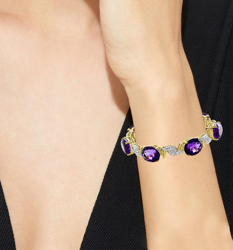 52 Carat Oval Amethyst and Diamond Bracelet in 18 Karat Yellow Gold For Sale 5