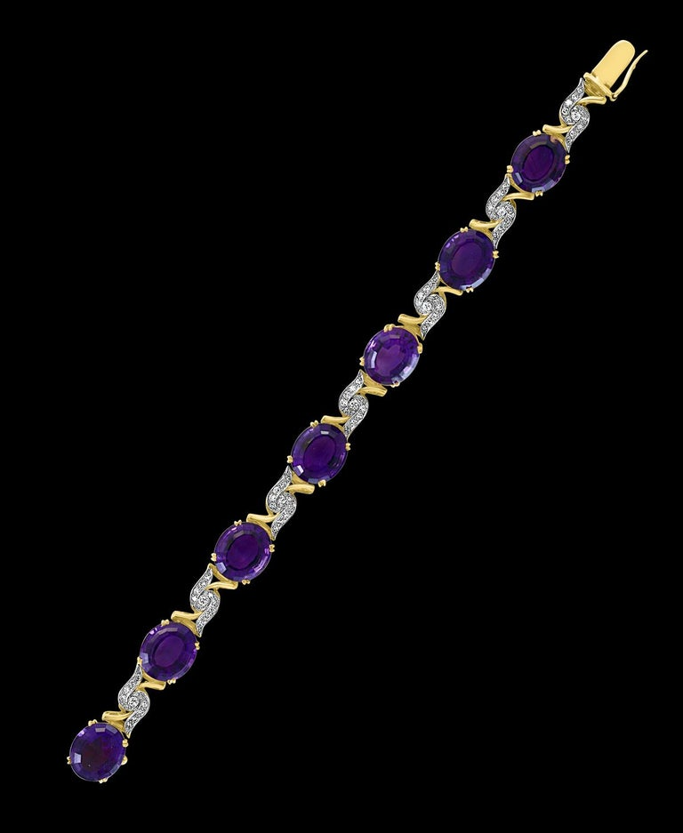52 Carat  Oval shape Amethyst  And Diamond Bracelet In 18 Karat Yellow Gold 7.5 Inch A spectacular jewelry piece.  This exceptional bracelet has 7  Oval shape Amethyst  stone . Weight of the Amethyst   is approximately 52 carats.The bracelet is