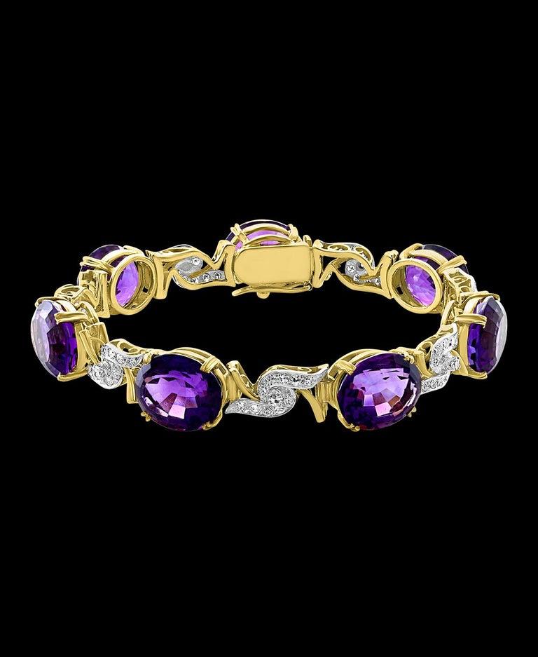 Oval Cut 52 Carat Oval Amethyst and Diamond Bracelet in 18 Karat Yellow Gold For Sale
