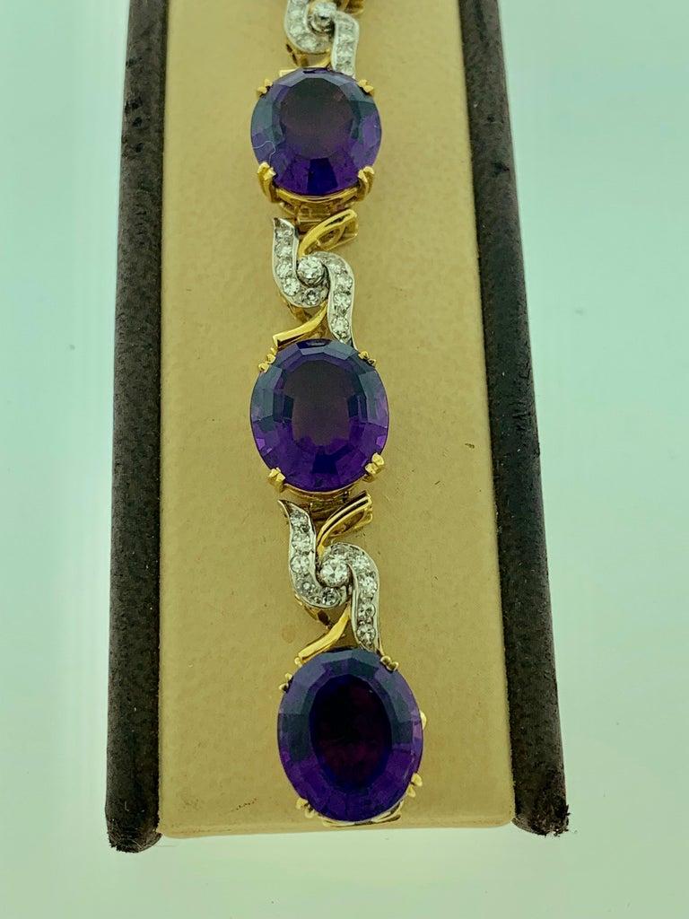 52 Carat Oval Amethyst and Diamond Bracelet in 18 Karat Yellow Gold For Sale 1