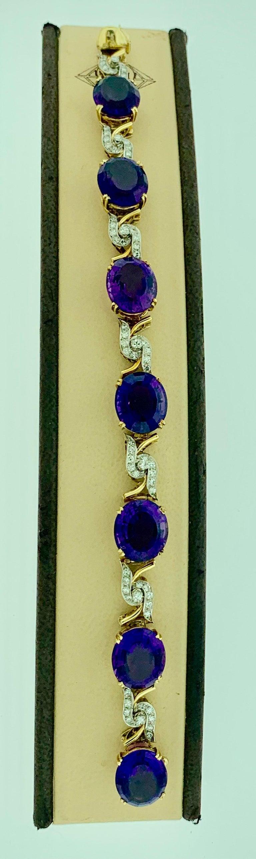 52 Carat Oval Amethyst and Diamond Bracelet in 18 Karat Yellow Gold For Sale 2