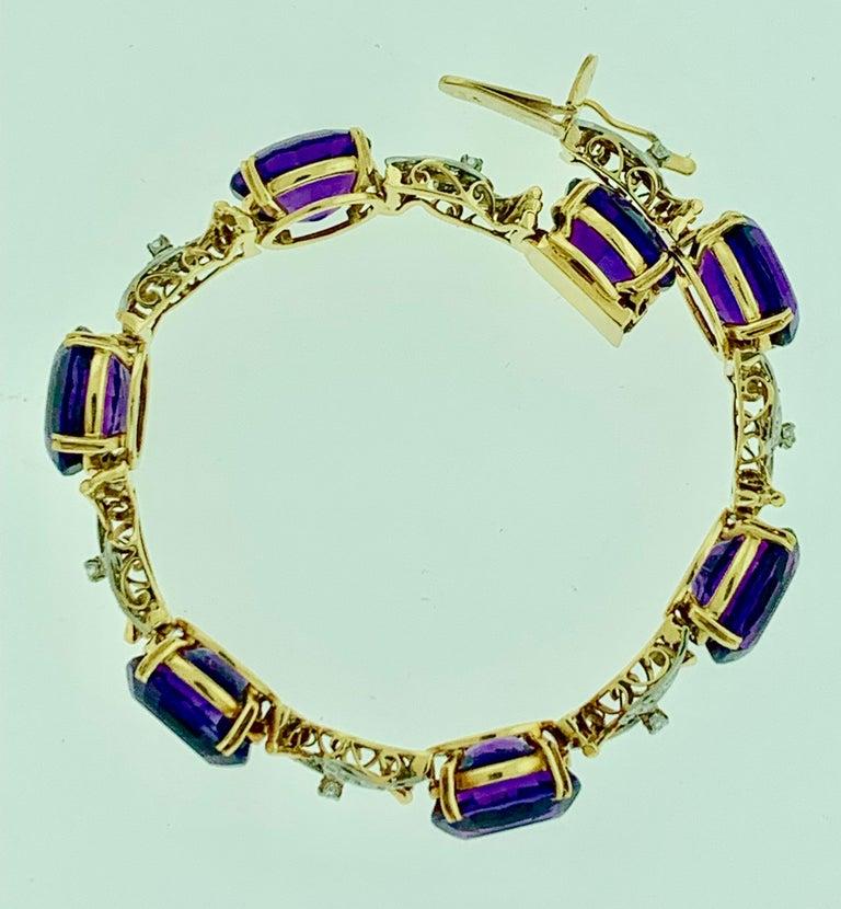 52 Carat Oval Amethyst and Diamond Bracelet in 18 Karat Yellow Gold For Sale 3