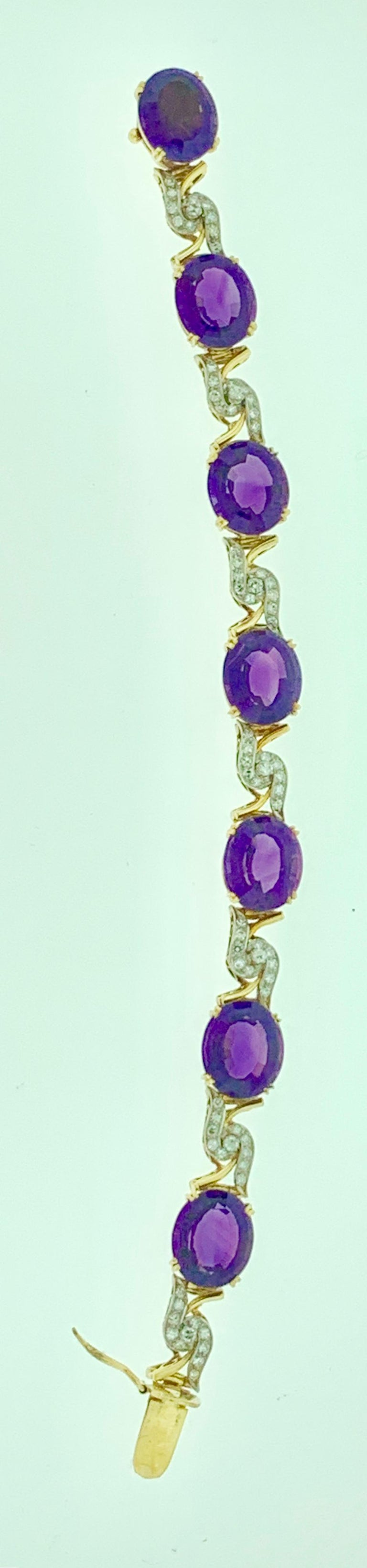 52 Carat Oval Amethyst and Diamond Bracelet in 18 Karat Yellow Gold For Sale 4