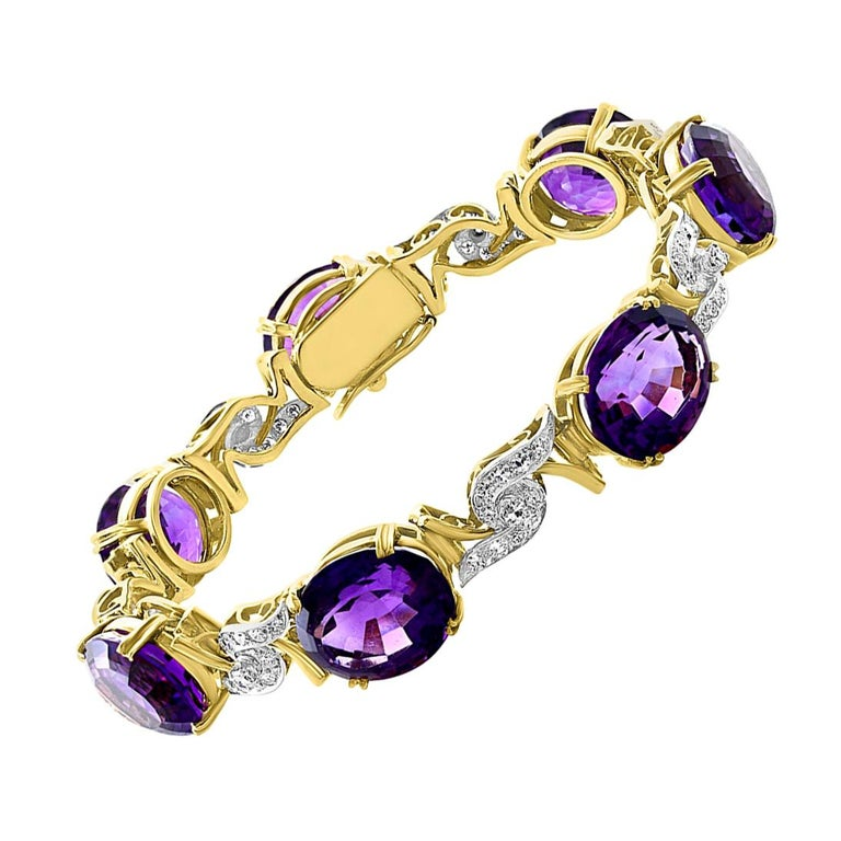 52 Carat Oval Amethyst and Diamond Bracelet in 18 Karat Yellow Gold For Sale