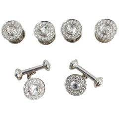 5.2 Carat White Diamond Cufflinks and Shirt Studs Set in 18 Karat White Gold