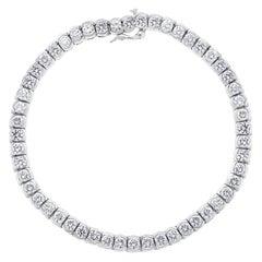 52 Round Diamond 16-17 Pointer Each Tennis Bracelet in 18 Karat Gold 8 Carat