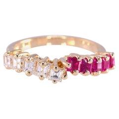 .52 Ruby Ct & .46 Ct Diamond Yellow Gold 14 Karat Partial Bypass Ring 3 Grams