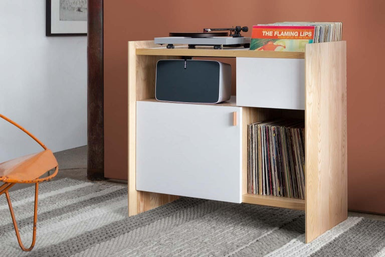 Vegetable Dyed Unison for Sonos Vinyl Record Storage Stand in Natural Walnut For Sale