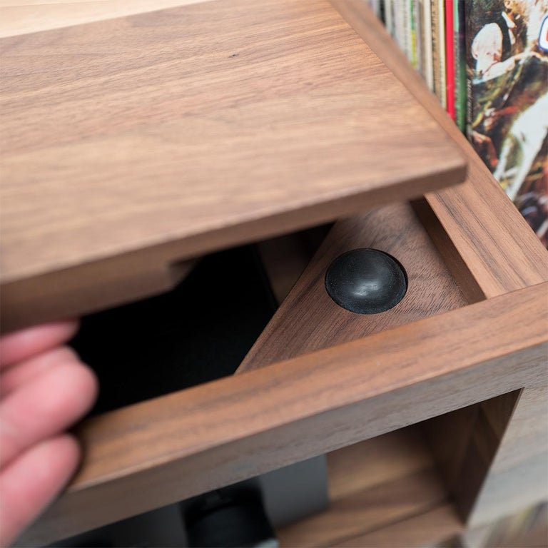 Contemporary Unison for Sonos Vinyl Record Storage Stand in Natural Walnut For Sale