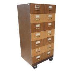 """52"""" Vintage Rolling Card File Storage Cabinet"""