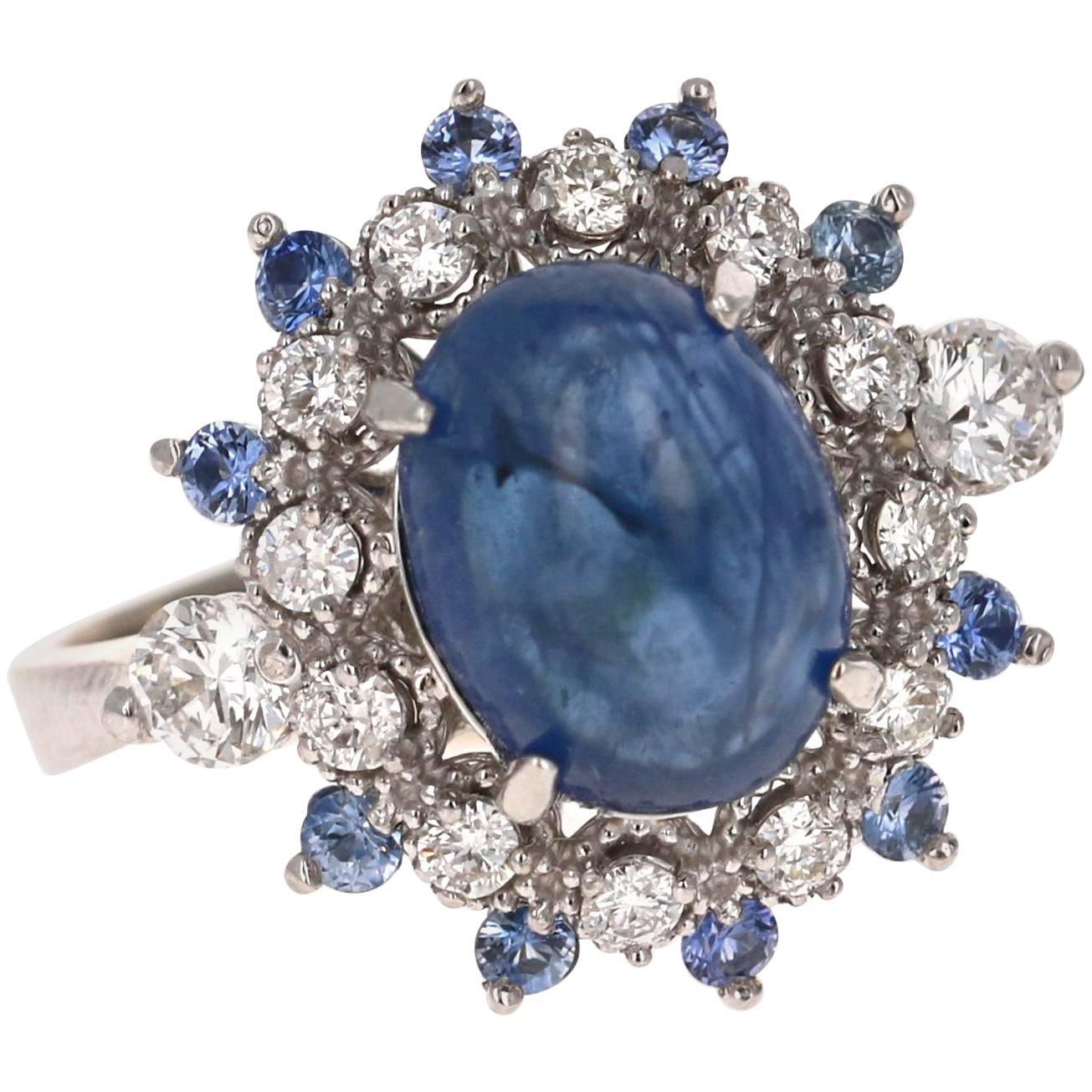5.20 Carat Sapphire Diamond 14K White Gold Cocktail Ring