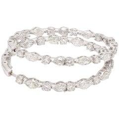 5.20 Carat Diamond 18 Karat White Gold Hoop Earrings