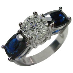 5.20 Carat Diamond Blue Sapphire Engagement Ring 18 Karat White Gold