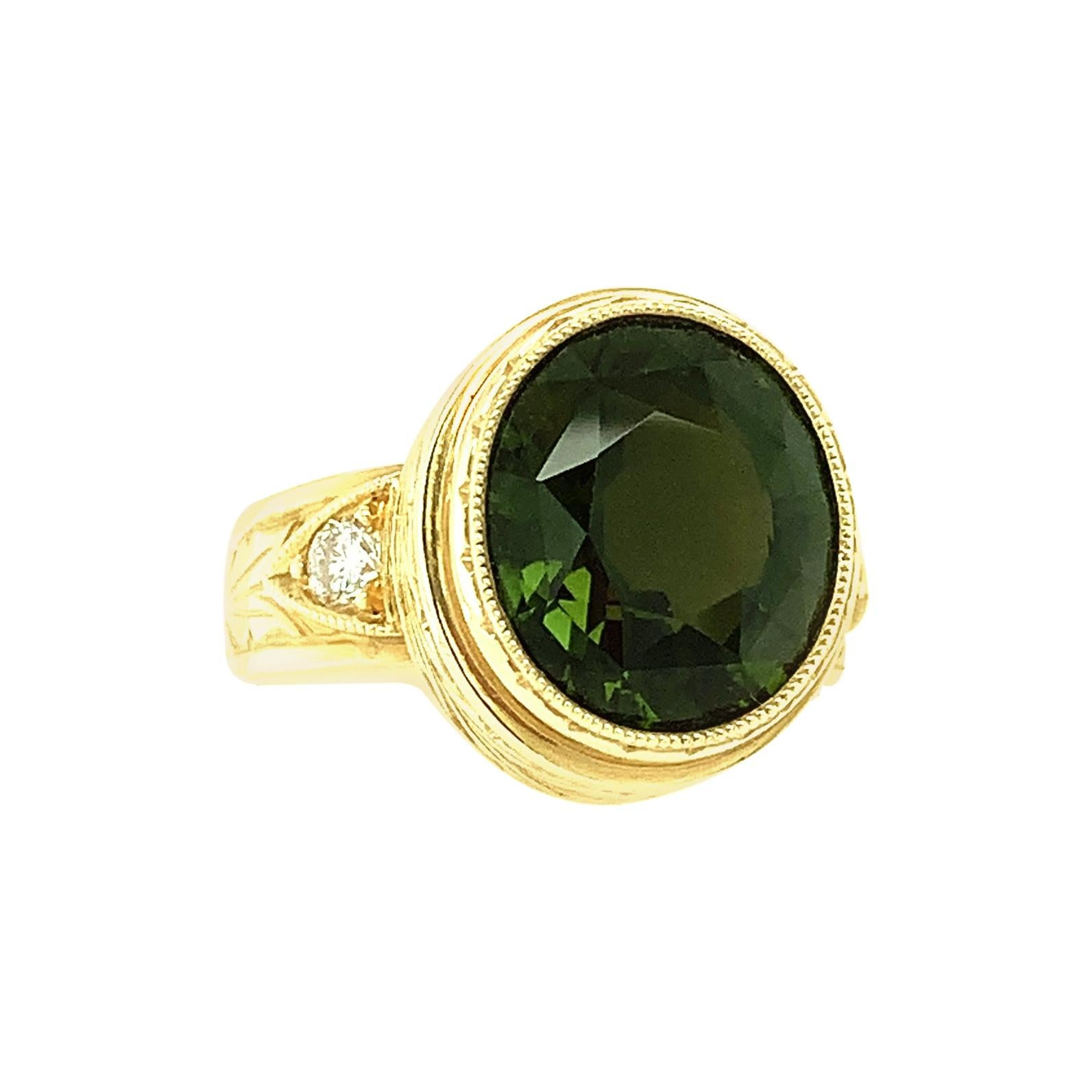 5.20 Carat Green Tourmaline Oval, Diamond and Yellow Gold Bezel Signet Ring