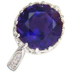 5.20 Carat Natural Brilliant Round Deep Purple Amethyst Diamond Ring 14 Karat