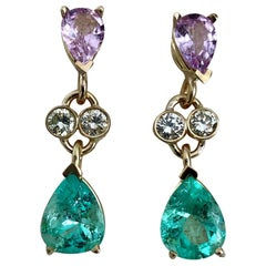 5.20 Carat Colombian Emerald Sapphire Diamond Dangle Earrings 18 Karat