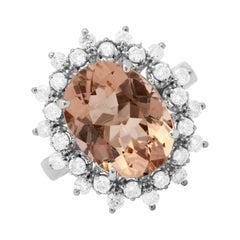 5.20 Carat Natural Morganite and Diamond 14k Solid White Gold Ring