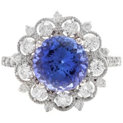 5.20 Carat Natural Tanzanite and Diamond 14 Karat Solid White Gold Ring