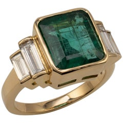 5.20 Carat Natural Zambian Emerald Ring, Baguette Cut, VS Diamond Shoulders