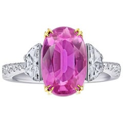 5.20 Carat Oval Pink Sapphire and Diamond Platinum and 18k Yellow Gold Ring