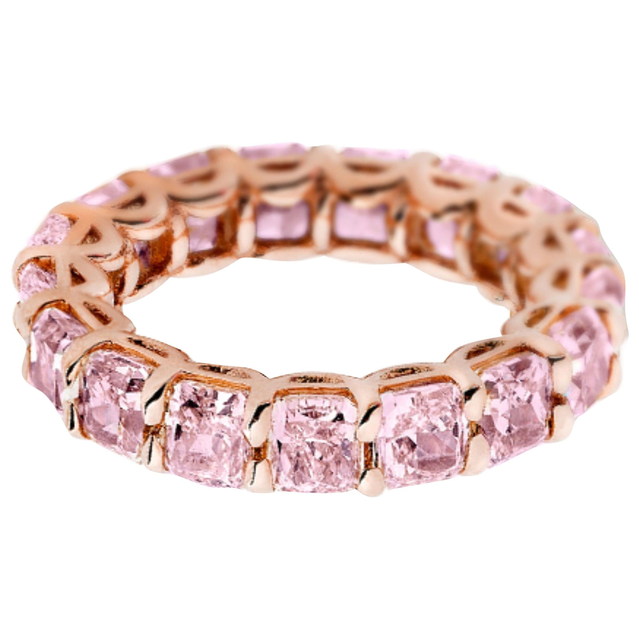 5.20 Carat Radiant Cut Pink Diamond Eternity Band Ring, GIA Certified
