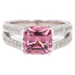 5.20 Carat Spinel Diamond 18 Karat White Gold GIA Certified Ring