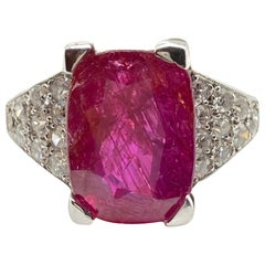 5.20 Carat Unheated Burmese Ruby and Diamond White Gold Ring