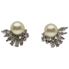 5.20 Carat White Gold Marquise Diamond Pearl Earrings