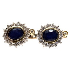 5.20 Carat Yellow White Gold Diamond Sapphire Earrings