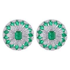 5.21 Carat Emerald Diamond 18 Karat Gold Flower Stud Earrings