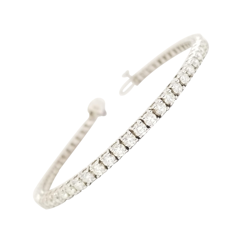 5.21 Carat Round Brilliant Cut Diamond Tennis Bracelet 14 Karat White Gold