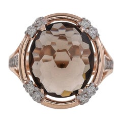 5.21 Carat Smoky Quartz Diamond 18 Karat Rose Gold Ring