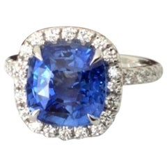 5.21 Carat Unheated Natural Blue Sapphire and Diamond Ring GIA Certified