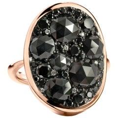 5.22 Carat Black Diamond Mosaic Pave Ring